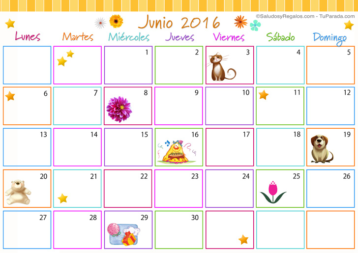 Calendario multicolor junio 2016 calendario multicolor for Calendario junio 2016 para imprimir