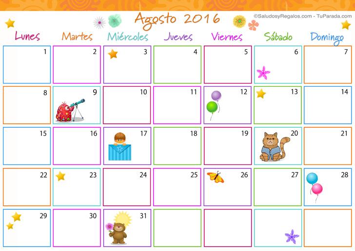 Calendario Multicolor - Agosto 2016, Calendario Multicolor 2016 ...