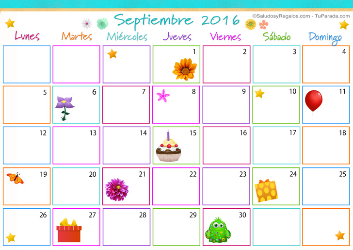 Calendario Multicolor - Septiembre 2016 - Calendario Multicolor 2016 ...