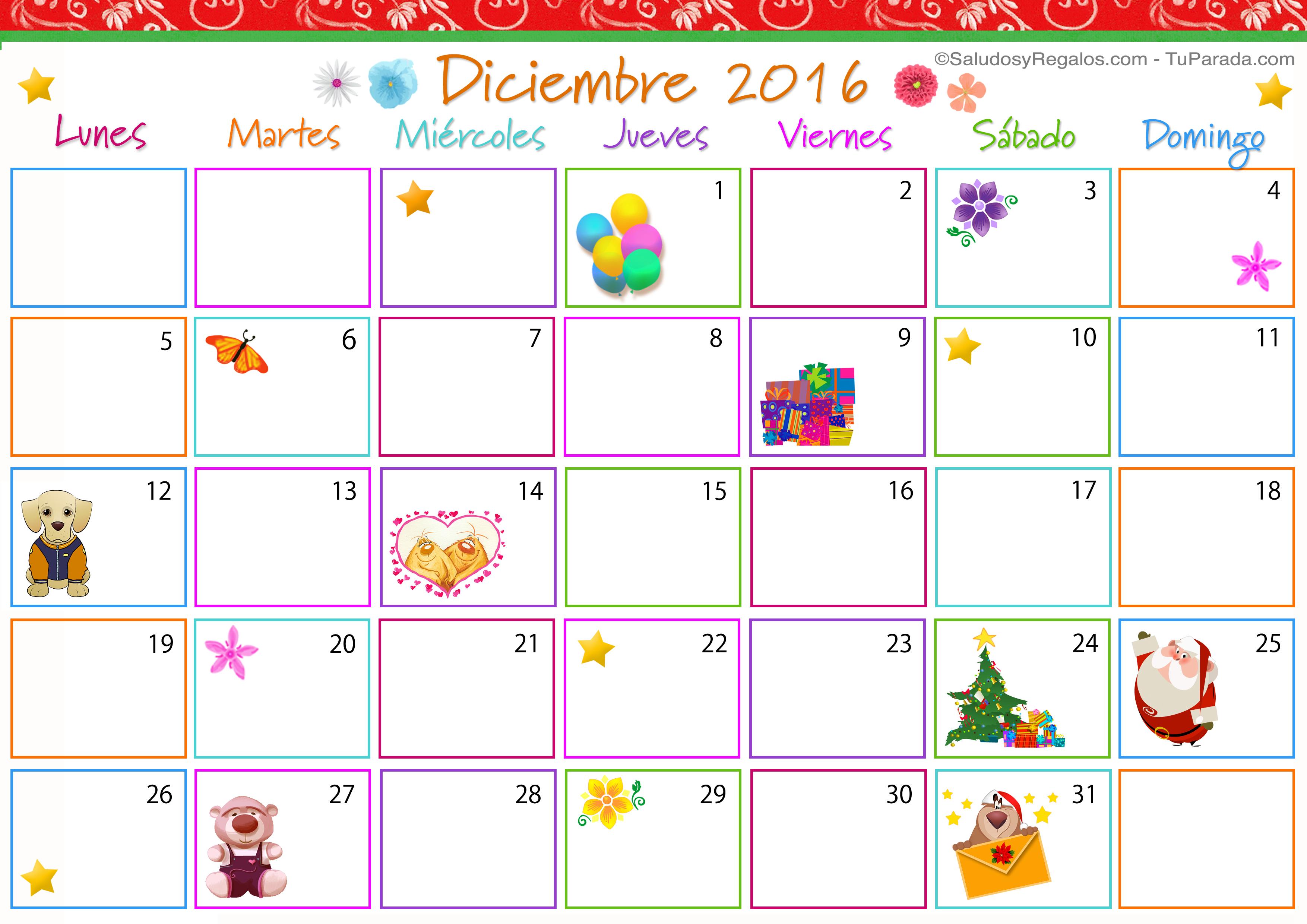 Calendario Multicolor - Diciembre 2016, Calendario Multicolor 2016 ...