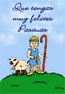 Tarjetas postales: Tarjeta de feliz Pascua con pastorcito