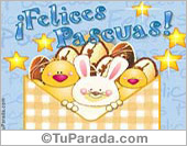Felices Pascuas en sobre animado.