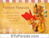 Tarjetas postales: Felices Pascuas con huevos dorados