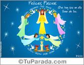 Tarjeta - Tarjeta de felices Pascuas con ángeles