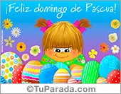Tarjetas postales: Tarjeta con huevos de Pascua y saludo
