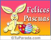 Felices Pascuas con conejito y huevos