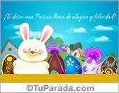 Tarjetas, postales: Tarjeta con conejo de Pascua