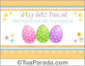 Tarjeta de Pascua con huevos de chocolate con flores.