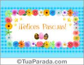 Tarjeta de Feliz Pascua con guarda y flores.