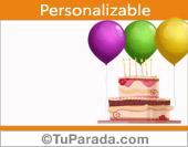 Imagen de tarjeta de cumpleaños con torta y globos para personalizar.