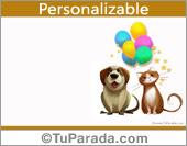 Un saludo con perro y gato
