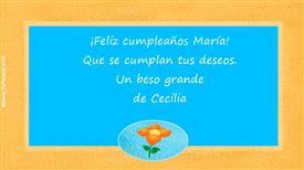 Tarjetas, postales: Feliz cumpleaños María