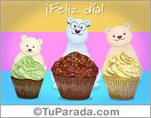 Día del padre - Tarjetas postales: Ecard de feliz día con osos y muffins