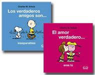 Dos libros de Snoopy con originales mensajes.