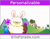 Tarjeta con conejito de Pascua