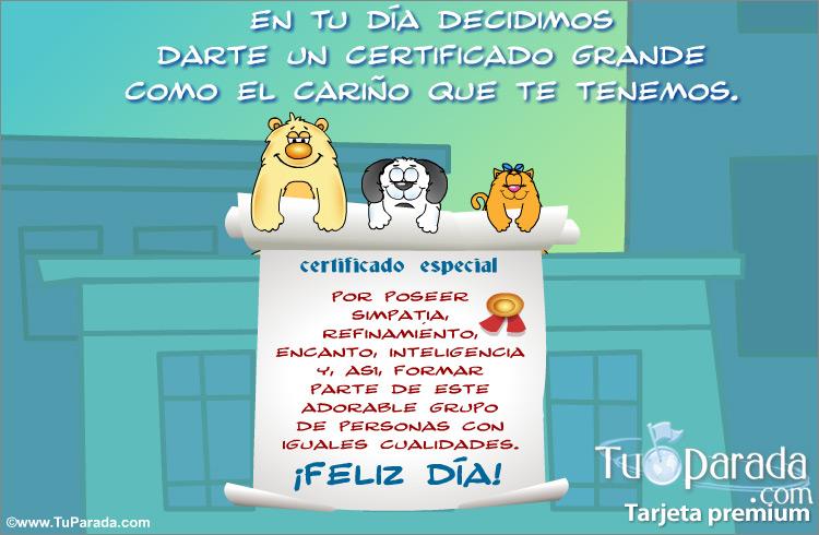 Certificado especial d a internacional del amigo tarjetas - Solicitar tarjeta club dia ...