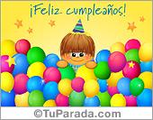 Cumpleaños para amigos - Tarjetas postales: Feliz Cumpleaños multicolor con globos