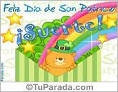 Tarjeta - San Patricio con oso y arco iris.