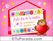 Tarjetas postales: Tarjeta del día de la madre rosa y oso