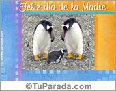 Tarjeta - Feliz día de la madre con pingüinos