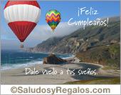 Tarjetas postales: Feliz cumpleaños con paisaje y globos