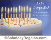 Tarjetas postales: Tarjeta de cumpleaños con torta y velas
