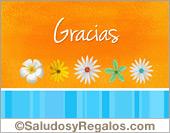 Tarjeta - Tarjeta de gracias naranja con flores