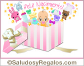 Tarjeta con regalo rosa de bebé