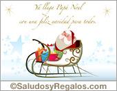 Tarjeta de Papá Noel en trineo