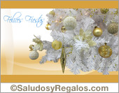 Tarjeta - Felices fiestas - Árbol nevado