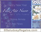 Feliz año nuevo - Tarjetas postales: Feliz año nuevo en azul