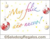 Tarjetas postales: Feliz año con adornos