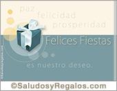 Feliz año nuevo - Tarjetas postales: Felices fiestas con regalo