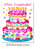Tarjeta de imagen de torta de feliz cumpleaños en rosa.