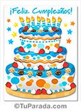 Tarjeta de imagen de torta de feliz cumpleaños azul.