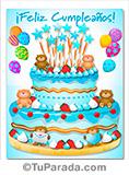 Imagen de cumpleaños, torta celeste y ositos, para varón.
