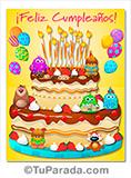 Imagen de feliz cumpleaños con torta para compartir.
