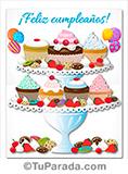 Imagen de feliz cumpleaños con ricas cupcakes.