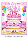 Tarjeta de felices 15 años, imagen de torta rosa.