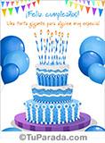 Tarjeta de cumpleaños con imagen de torta en celeste.