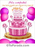 Tarjeta de cumpleaños con imagen de torta en rosa.