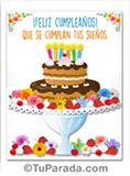 Imagen de feliz cumpleaños con torta de chocolate.