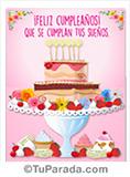 Imagen de torta en rosa de feliz cumpleaños.