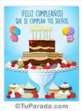 Imagen de torta en celeste de feliz cumpleaños.
