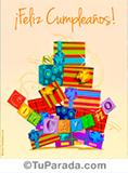 Tarjeta de feliz cumpleaños con imagen de regalos.