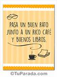 Tarjeta - Imagen con frase - Libros y café