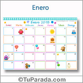 Calendario Multicolor - Enero 2018