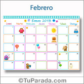 Calendario Multicolor - Febrero 2018
