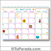 Calendario Multicolor - Abril 2018