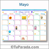 Calendario Multicolor - Mayo 2018